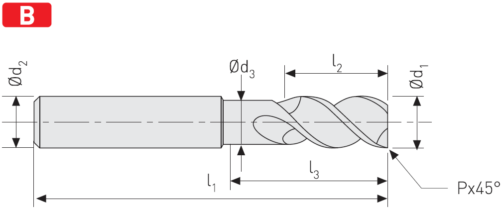 AC503 - Solid Carbide End Mills For Aluminium, Long, AluCut