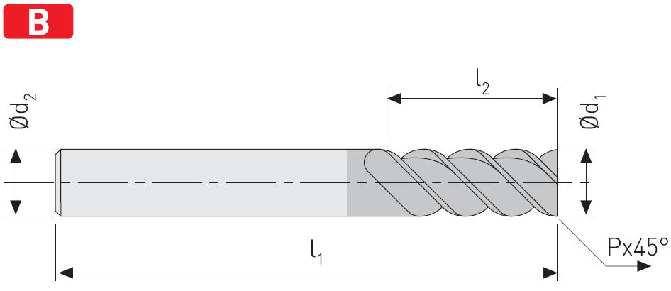 FD40D - Solid Carbide Multi Flute Cutter, Short